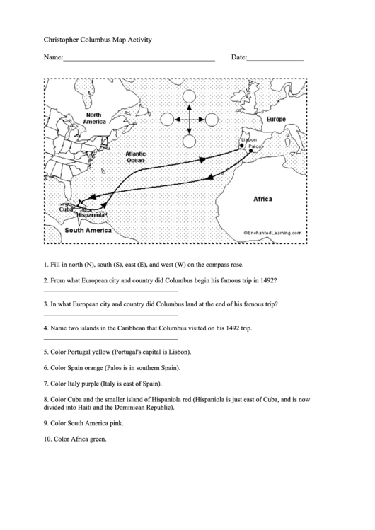 graphic relating to Christopher Columbus Printable Activities titled Christopher Columbus Map Game printable pdf down load