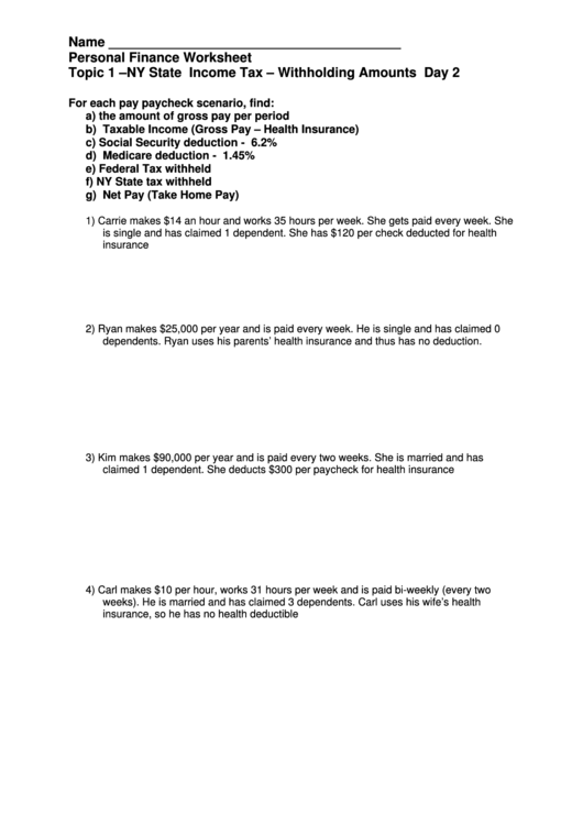 Personal Finance Worksheet Ny State