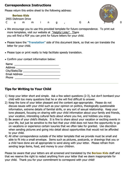 Letter Writing Template