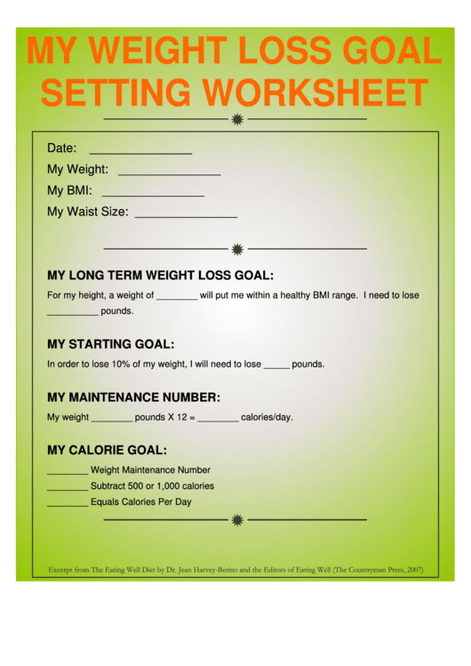 my weight loss goal setting worksheet printable pdf download
