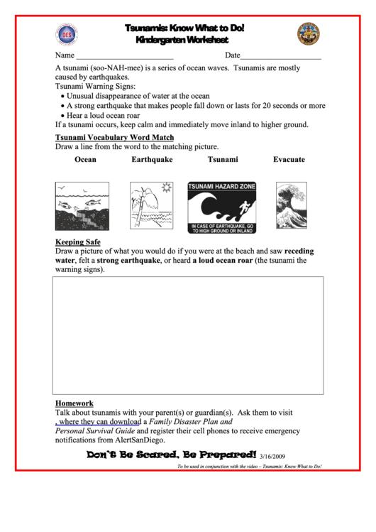 Tsunamis: Know What To Do! Kindergarten Worksheet