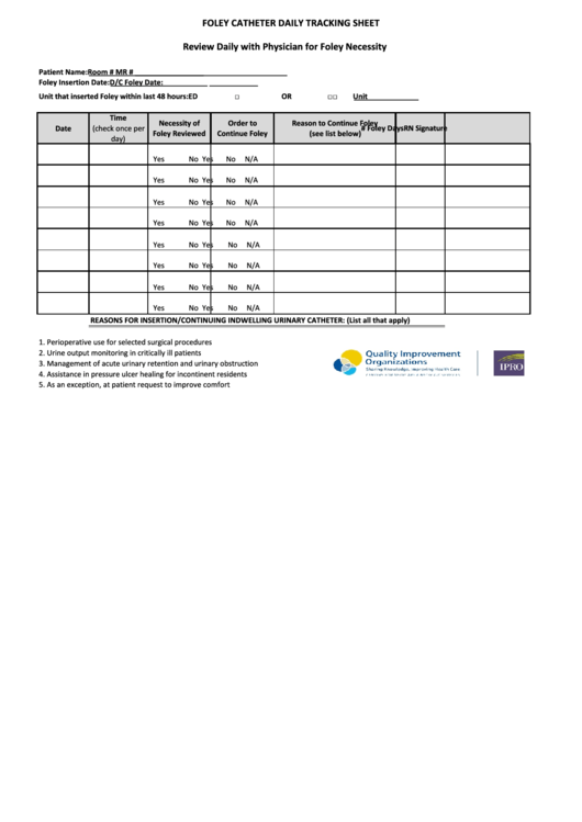 fillable foley catheter daily tracking sheet printable pdf
