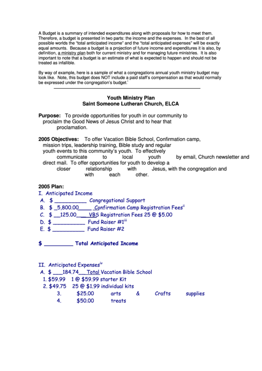 Sample Youth Budget Template Printable Pdf Download