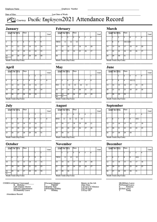2022 Attendance Calendar Printable Free.Attendance Record Calendar Template Pacific Employers 2021 Printable Pdf Download