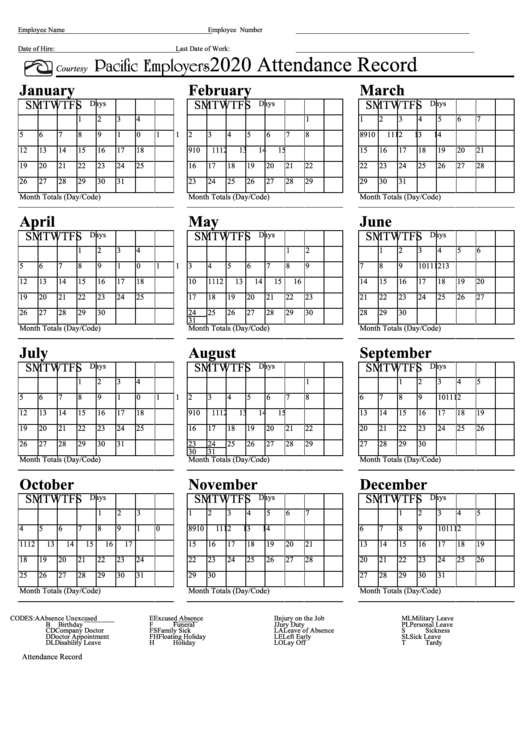 2020 Attendance Calendar Free Top 21 Attendance Record Templates free to download in PDF format