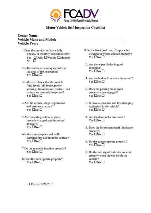 Motor Vehicle Self-inspection Checklist