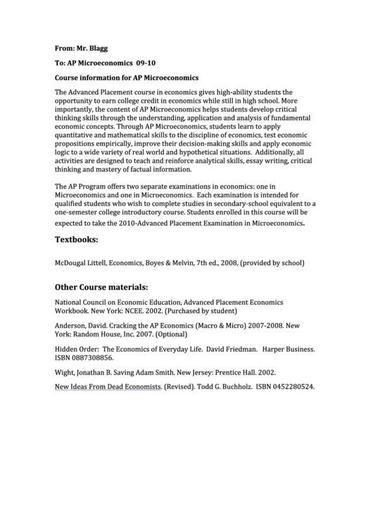 Ap Microeconomics Student Information Sheet printable pdf download