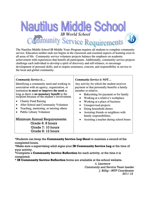 Nautilus Middle School Community Service Log Sheet