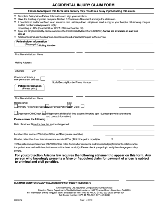 Form S00198-az - Accidental Injury Claim Form Aflac printable pdf ...