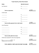 Total Monthly Debt Worksheet Template