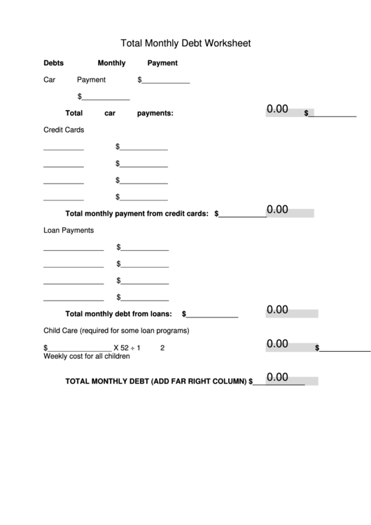 Fillable Total Monthly Debt Worksheet Template Printable pdf