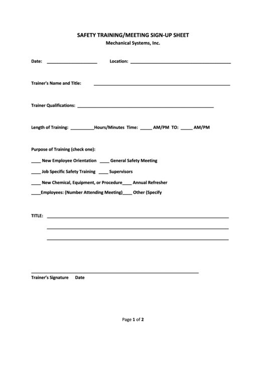 Safety Training/meeting Sign-up Sheet Template