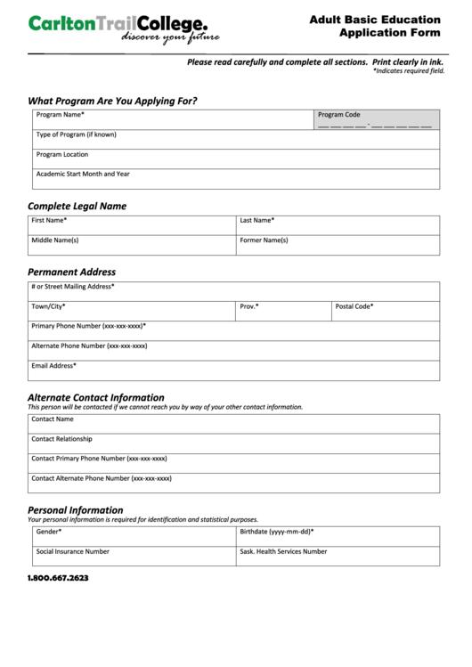 Adult Basic Education Application Form