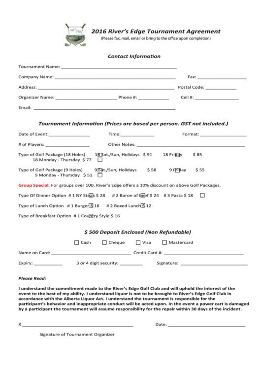 Tournament Agreement Form
