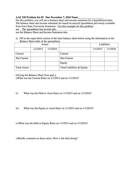 balance sheet and income statement worksheet printable pdf