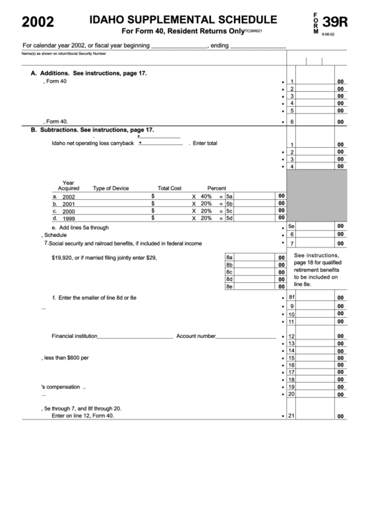 Idaho Supplemental Schedule - Idaho State Tax Commission 39r ...