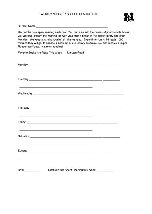 Wesley Nursery School Reading Log Template