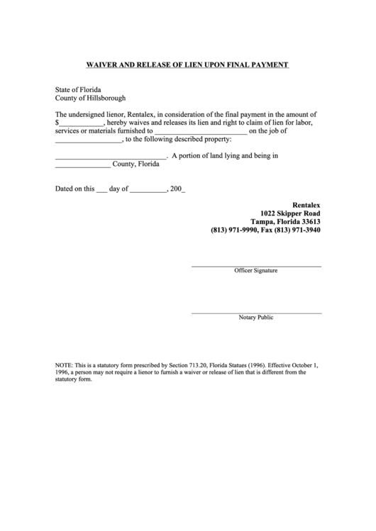 Fillable waiver and release of lien upon final payment for Final lien waiver template
