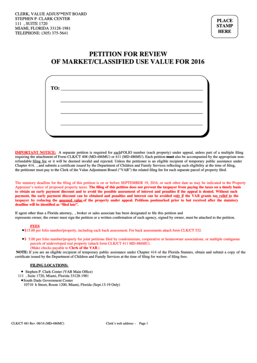 Petition For Review Of Market Classified Use Value Printable pdf