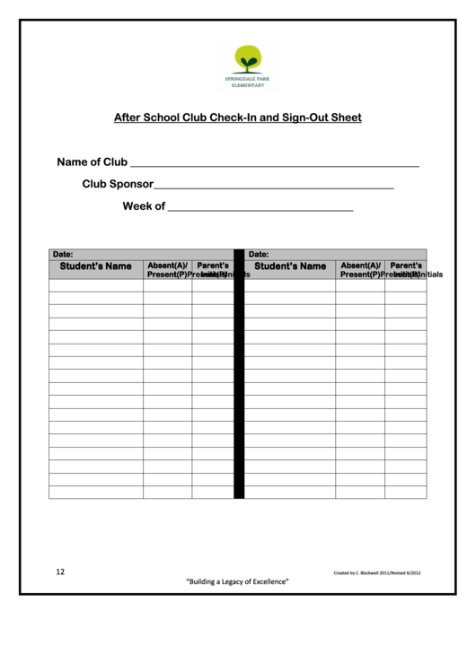After School Club Check-in And Sign-out Sheet