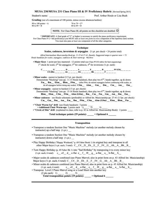 Class Piano Iii Printable pdf