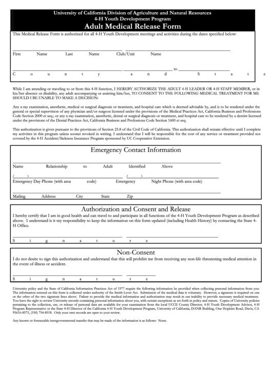 Adult Medical Release Form - Ucce Orange County Printable pdf