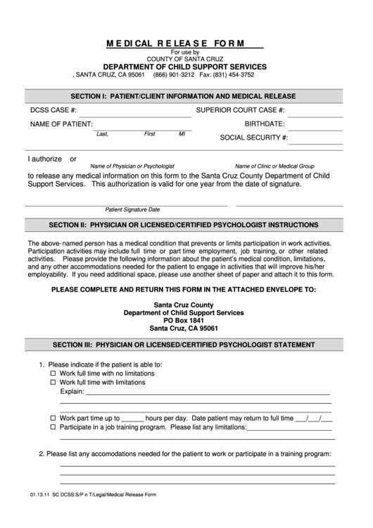 Medical Release Form - Updated - Superior Court Of Santa Cruz County Printable pdf