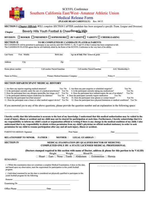 Sample Medical Release Form Printable pdf