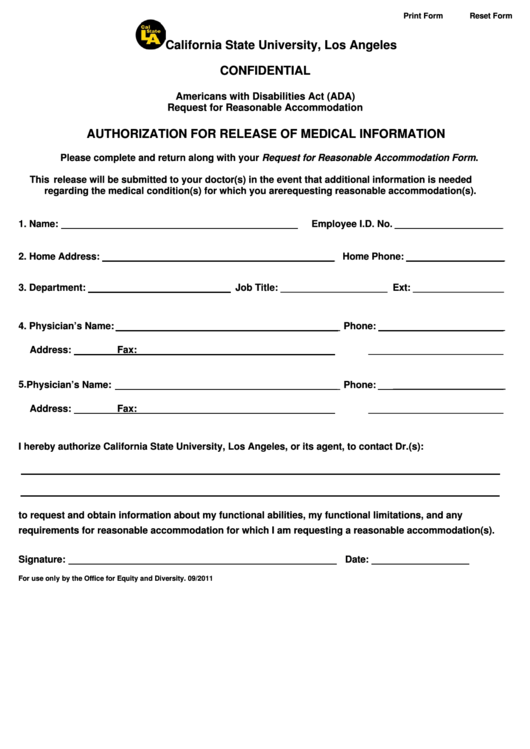 Ada Medical Release Form California State University Los Angeles Printable pdf