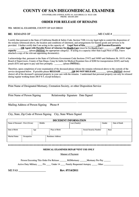 Order For Release Of Remains - County Of San Diego Printable pdf