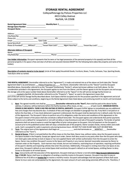 Storage Rental Agreement Printable pdf