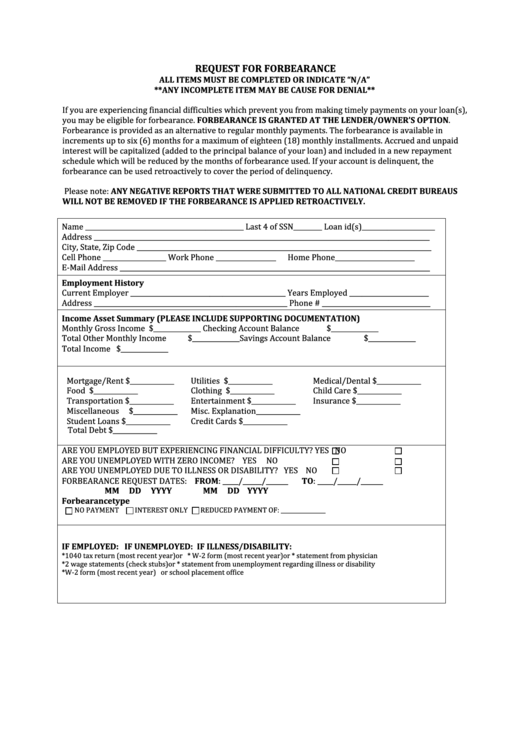Request For Forbearance Template Printable pdf