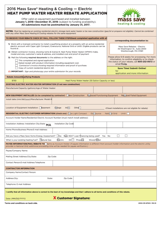 Top Mass Save Rebate Form Templates free to download in PDF, Word ...