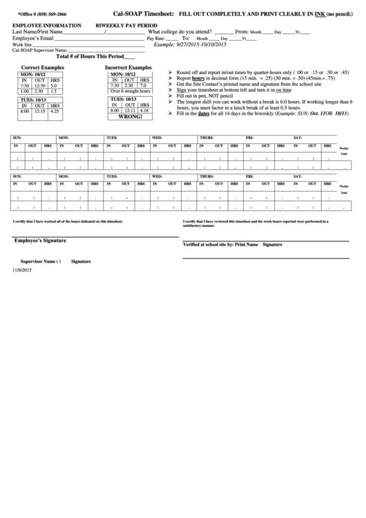 Blank Timesheet Printable pdf