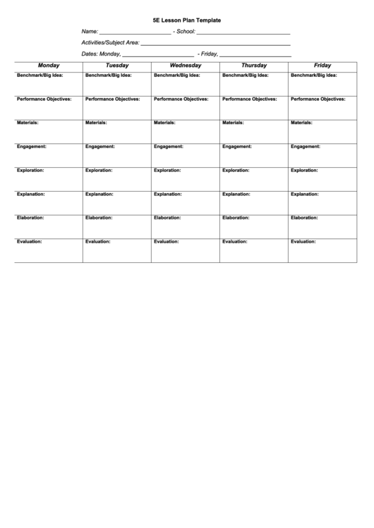 5e Lesson Plan Template printable