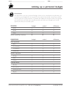 Personal Budget Worksheet Template