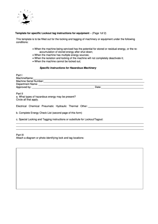 Template For Specific Lockout Tag Instructions For Equipment