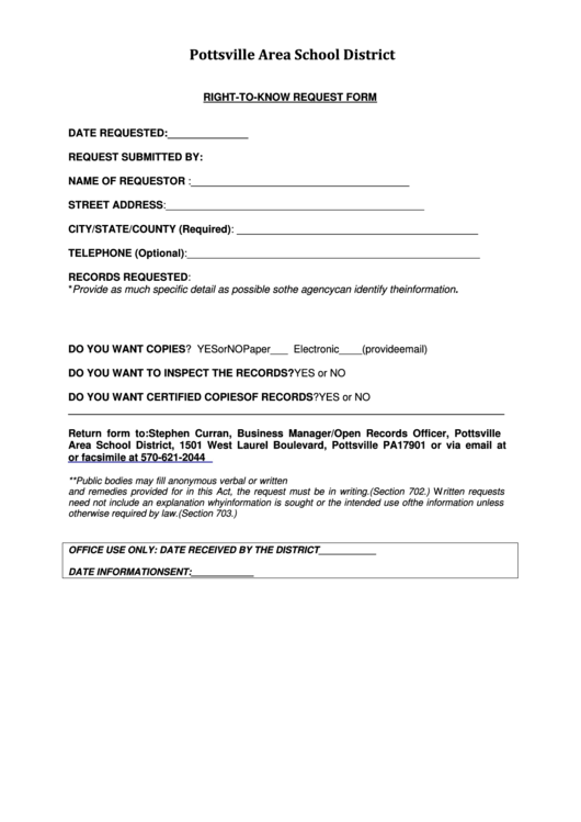 Right To Know Request Form - Pottsville Area School District Printable pdf