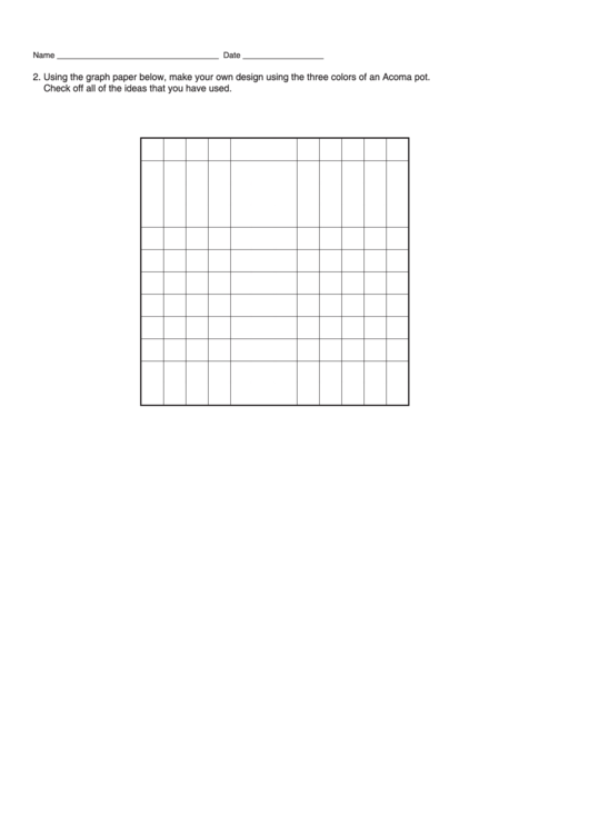 Using The Graph Paper Below, Make Your Own Design Using The Three Colors Of An Acoma Pot. Printable pdf