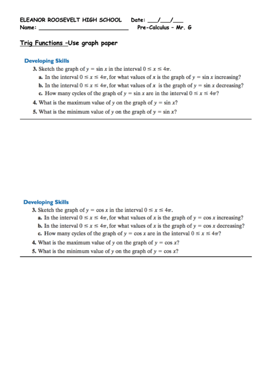 Trig Functions -Use Graph Paper Printable pdf