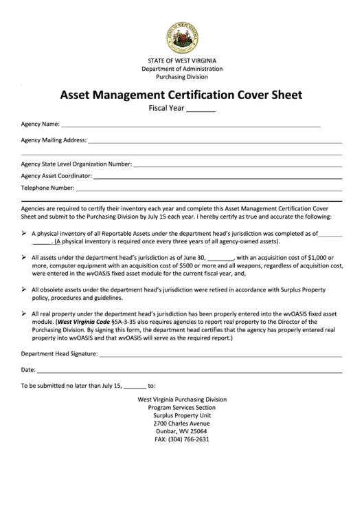 fillable asset management certification cover sheet