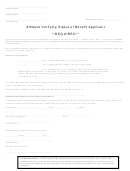Affidavit Verifying Status Of Benefit Applicant