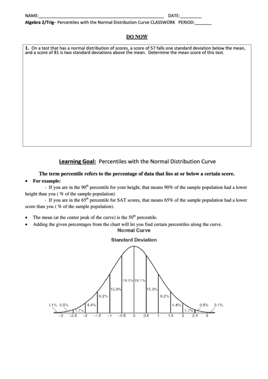 percentiles with the normal distribution curve worksheet printable pdf download. Black Bedroom Furniture Sets. Home Design Ideas