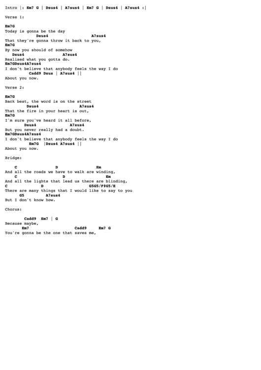 Wonderwall Chords Ver 2 By Oasis Tabs Printable Pdf Download