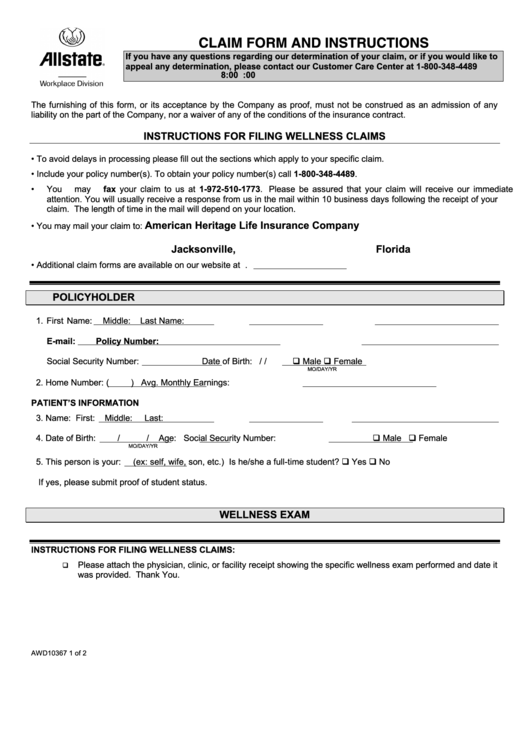 Allstate Wellness Claim Form printable pdf download
