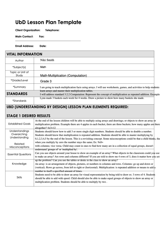 Ubd lesson plan template printable pdf download - Understanding by design math unit plans ...