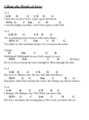 I Hear The Words Of Love- Chord Chart