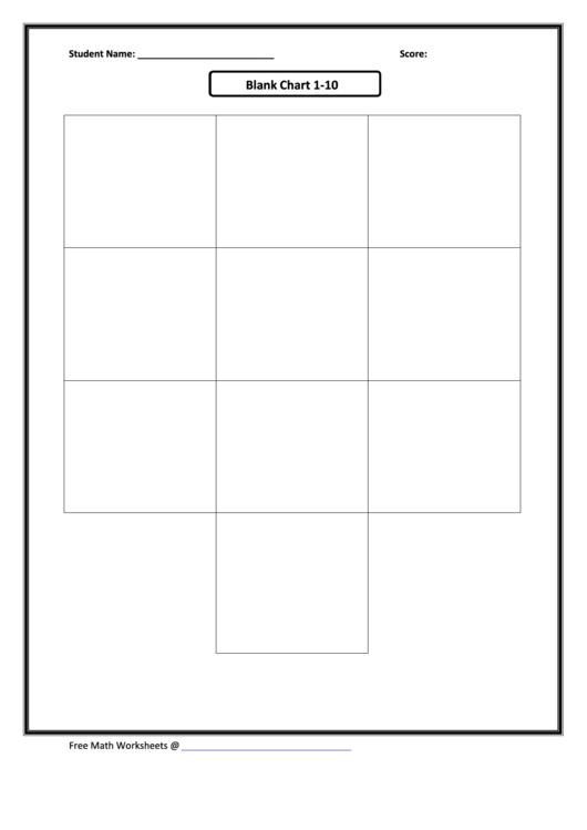 Blank Chart 1-10 - Math Worksheet