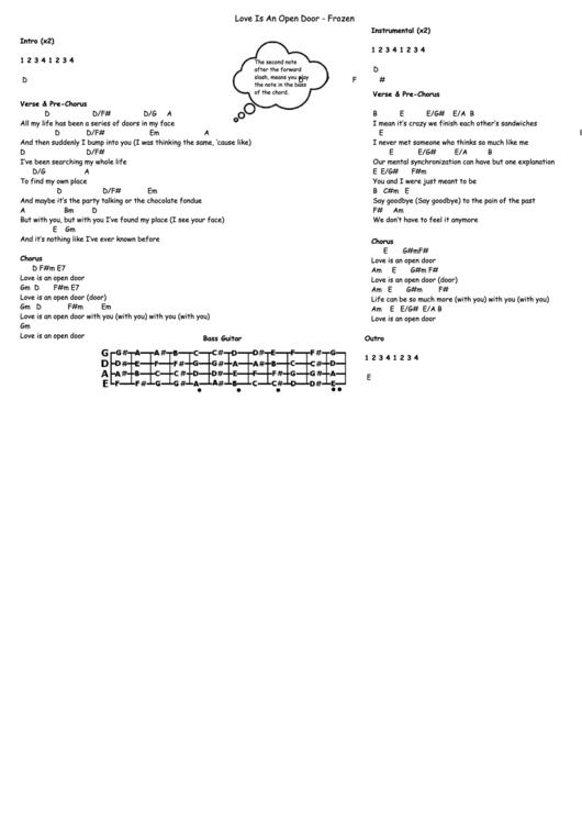 Love Is An Open Door Chord Sheet printable pdf download