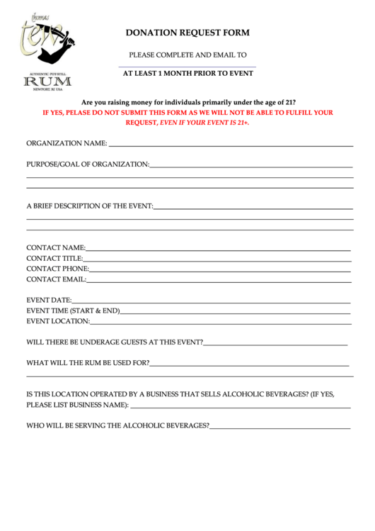Donation Request Form